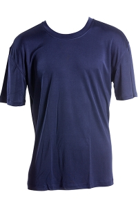 Basic T-Shirt, 100% Seide, Interlock, Dunkelblau, M